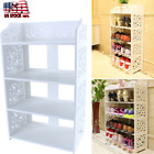 3 4 Tier Wood Storage Organizer Standing Shoe Rack Shelf Cabinet Space Saving US