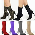 Womens Ladies Lace Lycra Satin High Heels Stretch Ankle Boots Celeb Shoes Size