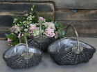 Grey Wicker Storage Craft Basket Wooden Handles Rustic Gift Hamper Flower Trug