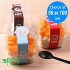 clear ice box - 50/100 Clear Square Plastic Pudding Ice Cream Cake Box Container w/ Clear Lid OA