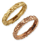 9ct Gold Yellow OR ROSE Gold Flower Pattern Stacker Ring ~ (Size J)