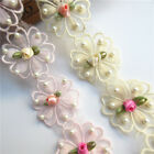 1yd Flower Pearl Lace Edge Trim Wedding Ribbon Embroidered Applique Sewing Craft