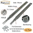 Probrico 12/14/16/18/20/22in Full Extension Drawer Slides Heavy Duty Side mount