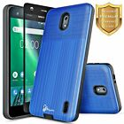For Nokia 2 / 6 Dual Layer Shock Proof Slim Hybrid Case Cover + Tempered Glass