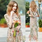 Us Stock Women Embroidered Floral Mesh Dress Lady Party Prom Beach Maxi Dress