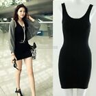 Women fashion Bodycon Sleeveless Tops Mini Dress Casual Long Tank T-Shirt dress@
