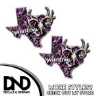 Texas State Hunting Decal Whitetail Deer Skull Pink Skull Camo Sticker TX 2 Pack