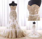 New Mermaid Gold Lace Evening Dress Pageant Party Prom Dresses Wedding Gowns