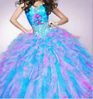 New Beading Quinceanera Party Prom Ball Gown Organza Dresses Stock Size