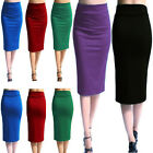 Womens Office High Waist Midi Skirt Ladies Stretchy Bodycon Fitted Pencil Dress