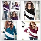 Womens Fashion Bat Loose Splice T-Shirt Lady Casual Long Sleeve Tee Tops Blouse