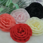 20/100pcs Upick Organza Ribbon Flower Rose Wedding Sewing Appliques Crafts A204