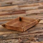 Personalised Collapsible Brown Leather Valet Tray Dish for Coins Keys Jewellery