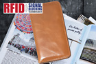 RFID Protected Card Pockets Tan Gen Leather Wallet for Apple iPhone Cover Case