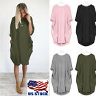 Womens Casual Pocket Dress Loose Blouse Ladies T Shirt Dress Tops Plus Size S-XL