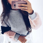 Girl Lady's Women's Casual Cute Warm Tops Long faux fur Sleeve Jumper Sweatshirt