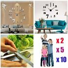 LOT 5X Modern DIY Large Wall Clock 3D Mirror Surface Sticker Home Office Decor T