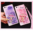 Rubber Soft Bling Water Stars Moving Liquid Case +Ring Holder +Lanyard For Oppo