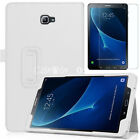 "New SAMSUNG GALAXY TAB A6 10.1"" Magnetic LEATHER Stand Case + Tempered Glass 9HD"