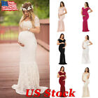 US Women Lace Maternity Dress Maxi Fancy Long Gown Pregnancy Photography Props
