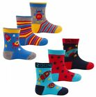 6 prs Boys Baby Toddler Rocket & Robot Socks Cotton Rich  Size 0-2.1/2 & 3-5.1/2