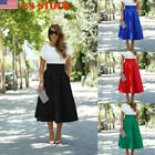 Women Lady Top Dress Midi Skirt High Waist Vintage Plain Swing Preppy Umbrella