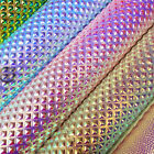 Crafts - Metallic Iridescent Leather Fabric Holographic Leatherette Faux Crystal Crafts