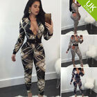 Women Sexy Deep V Neck Long Sleeve Bodycon Zip Up Print Jumpsuits Slim Rompers