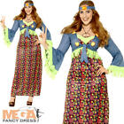 Hippie Ladies Fancy Dress 1970s 60s Hippy Peace Womens Adults Costume Plus Size