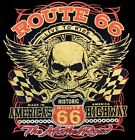 Route 66 T Shirt Biker Skull Wings Pin Stripes Historic Road Small to 6XL & Tall image