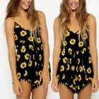 US Moxeay Sexy sunflower printed Strap V-Neck Shorts Jumpsuits Romper Beachwear