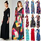 Janette THE FAMOUS LONG SLEEVE MAXI WRAP DRESS SOLIDS & PRINTS USA Made $89 S-XL