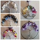 gemstone chip tree of life adjustable length wire wrapped pendant necklace