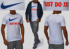 New Nike Just Do It Men's Athletic Cut T-Shirts White Sizes: S, M, L, XL, XXL
