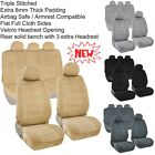 Seat Covers for Auto Front Rear Full Set 10mm Cushion triple Stitch Full Cloth K
