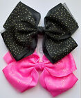 Jumbo Hair Bow Clip Extra Large With Glitters Kids Girls JoJo Style Pink & Black
