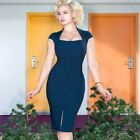 Glamour Bunny Lexy Wiggle Pencil Dress Blue Rockabilly Pin Up 50s Retro Vintage