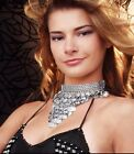 BELLY DANCE Costume Jewelry METAL COIN NECKLACE / HAIR ACCESSORY in SILVER Alloy