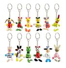 1/12/24 Hand Painted Wooden Animal Key Rings Party Bag Filler
