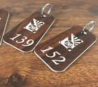 ENGRAVED PERSONALISED KEY FOBS KEY RINGS WOODEN LAMINATE FOR PUBS, CLUBS, HOTELS