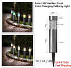 Kanstar Color Changing Solar Powered Stainless Steel Landscape Lawn Pathway LED