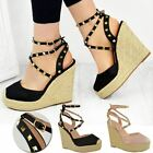 Womens Ladies Studded Wedge High Heels Sandals Strappy Platforms New Shoes Size