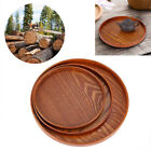 Round Natural Wood Serving Tray Plate Tea Food Server Dishes Water Drink Platter