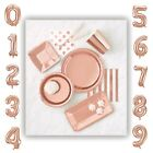 ROSE GOLD shiny foil balloons plates cups napkins disposable party tableware