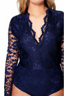 Women ladies celeb Molly Lace Long Sleeve Bodysuit Lace Top Leotard UK 16-24
