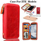Red New Handbag PU Leather Card Holder Zipper Pouch Wallet Case For ZTE  Models