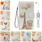 Bling Crystal PU Leather Filp slots Wallet Protective Case Cover& straps #A21