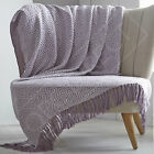 Abstract 100% Natural Cotton Large Fringed Throw Chair or Sofa, 130 x 170cm