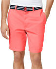 """NEW MENS CLUB ROOM FLAT FRONT 9"""" CORAL COTTON BELTED CHINO SHORTS 32"""