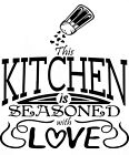 Kitchen is Seasoned With Love Quote wall vinyl modern home decor sticker decal